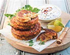 Herby chickpea patties with Greek yoghurt