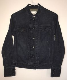 Womens LEVI STRAUSS SIGNATURE Dark Blue Jean Denim Jacket Coat Small Stretch #Levis #JeanJacket