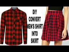 clothes refashion DIY Convert Mens Shirt Into Skirt Diy Clothes Refashion, Shirt Refashion, Diy Shirt, Diy Clothing Upcycle, Diy Tank, How To Make Skirt, How To Make Clothes, Diy Jupe, Diy Kleidung Upcycling