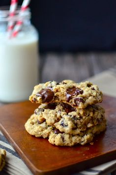 The best, chewy gluten free oatmeal cookies ever! Loaded with dried cherries and chocolate chips. You'll never know they're gluten free!