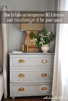 Perfect for the hubby's side of the bed Master Bedroom Night Stand Tutorial (IKEA Tarva Hack) - Dear Lillie Painted Furniture, Home Furniture, Bedroom Furniture, Ikea Furniture Makeover, Ikea Makeover, Repurposed Furniture, Furniture Design, Hack Ikea, Table Ikea