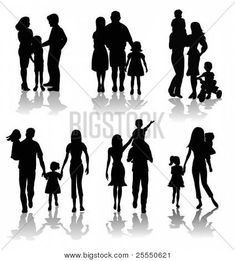 family silhouettes Silhouette Family, Silhouette Painting, Silhouette Clip Art, Silhouette Images, Mädchen Tattoo, Tattoo Pain, Cover Tattoo, Family Drawing, Family Painting