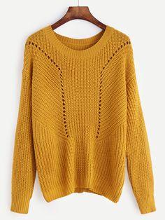 Mustard Drop Shoulder Eyelet Sweater — 15.15 € ------------------color: Mustard size: one-size
