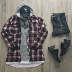 Outfit grid - Checks and hoodie