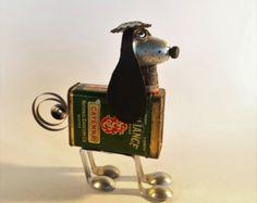 Steampunk Dog Sculpture - Found object dog assemblage - Junk Robot - Spice Tin dog - Vintage Kitchen