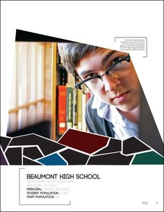Beaumont High School yearbook title page Yearbook Layouts, Yearbook Design, Yearbook Ideas, High School Yearbook, Yearbooks, Title Page, Modular Design, Geometry, Photography Ideas