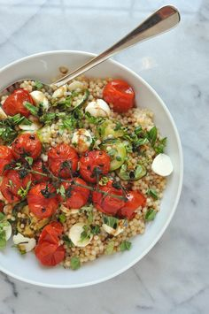 Israeli Couscous Salad with Zucchini, Mozzarella, and Tomatoes. Vegetarian   Shiny Happy Bright