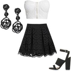 Black and white smart party outfit by gracerankcom on Polyvore featuring polyvore fashion style NLY Trend Alice + Olivia Topshop Oscar de la Renta