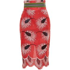 STELLA JEAN Floral Pencil Skirt (5 490 SEK) ❤ liked on Polyvore featuring skirts, bottoms, bottoms skirts, floral printed skirt, floral skirt, flower print skirt, floral knee length skirt and red floral skirt