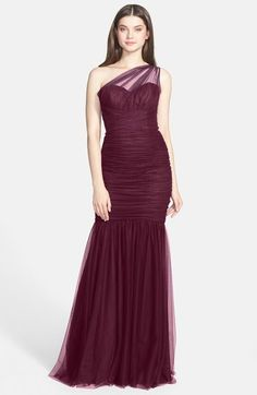 Amsale One-Shoulder Tulle Mermaid Gown available at #Nordstrom