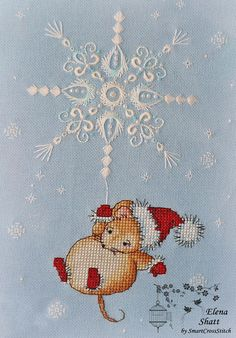 Christmas Cross Stitch Mouse pattern - Snowflake Whitework Embroidery Christmas Design, Cute Mouse C 123 Cross Stitch, Cross Stitch Numbers, Easy Cross Stitch Patterns, Beaded Cross Stitch, Cross Stitch Borders, Simple Cross Stitch, Modern Cross Stitch, Cross Stitch Charts, Cross Stitch Designs