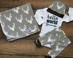 Newborn Baby coming home outfit Navy Deer and Teal by GigiandMax