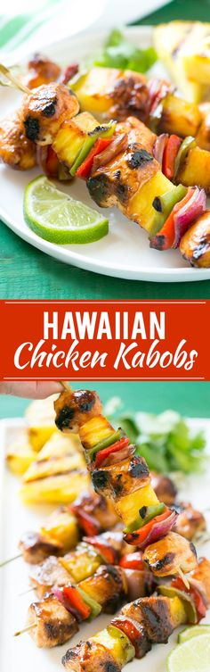 This recipe for Hawaiian Chicken Kabobs is juicy chicken breast, pineapple and vegetables in a sweet and tangy sauce, threaded onto skewers and grilled to perfection. Serve with coconut rice for a taste of the tropics at home!