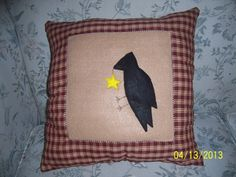 Handmade Primitive throw pillow has crow and by MawmaRosesCrafts, $20.00