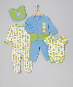 A little one can have it all with this essential set. Handy snaps line the cardigan, bodysuit and footie while snug cargos remain a comfy option. A durable, absorbent bib repels spills and keeps the rest of this set spotless. A comfy cotton blend makes this one cozy collaborative effort.Includes bodysuit, footie, cardigan, cargo pants and bibs60% cotton /...