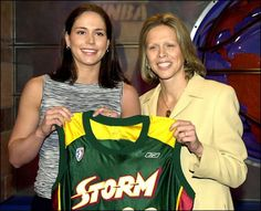 No. 1 draft pick Sue Bird of the Storm and WNBA president Val Ackerman at the 2002 WNBA draft.