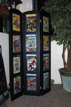 If you are passionate about game, it's time to remodel your regular room into a video game room. Check out these amazing video game room ideas! Comic Book Rooms, Comic Book Frames, Comic Room, Comic Book Storage, Comic Book Display, Book Displays, Nerd Cave, Man Cave, Magazine Display