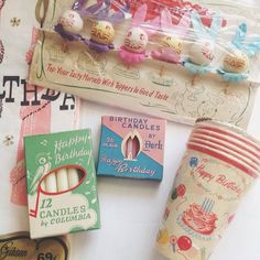 Everyday is a Holiday. Vintage birthday candles, cups and lots more.