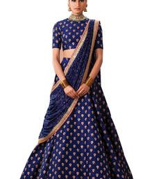 Buy Nevy blue embroidered banglory silk unstitched lehenga choli lehenga-choli online