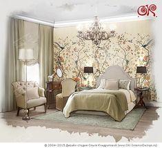 Дизайн интерьера спальни с росписью http://www.ok-interiordesign.ru/blog/francuzskiy-interyer-neoklassicheskoy-spalni-2.html