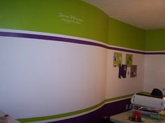 Scrapbook room painted with stripes.. i like stripes..