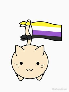 'Nonbinary Pride Cat' Relaxed Fit T-Shirt by OneAngryGinger Nonbinary Flag, Lgbtq Flags, Pansexual Pride, Lgbt Love, Lgbt Rights, Genderqueer, Lgbt Community, Aesthetic Wallpapers, Gay