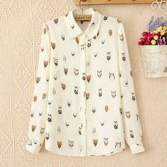 NEW 2014 spring summer women Cartoon cute animal print chiffon Shirt female kawaii Full Sleeve Turn-down Collar Beige blouse