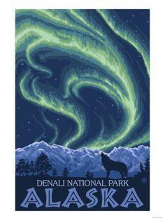 Northern Lights - Denali National Park, Alaska - Vintage Travel Poster was created in This image depicts scenes from Denali National Park, AK. National Park Posters, National Parks, Waterton National Park, Alaska Northern Lights, Voyage Usa, Wolf Poster, Retro Poster, Kunst Poster, Stock Art