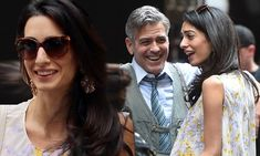 George Clooney shares a laugh with wife Amal as she visits him on set