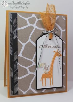 by Amy: Zoo Babies, Endless Birthday Wishes, Go Wild dsp stack, Ornate Tag Topper punch, & more - all from Stampin' Up! Baby Shower Cards, Baby Cards, Tier Zoo, Hand Stamped Cards, Stampin Up Catalog, Animal Cards, Handmade Birthday Cards, Kids Cards, Cards Diy