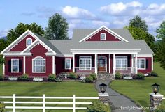 Country ranch home plan with perfect front porch from Family Home Plans #74834
