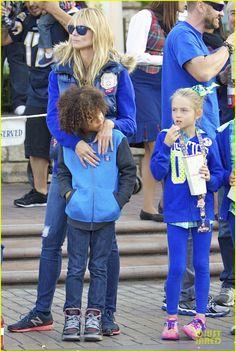 Heidi Klum takes her kids Leni, Henry, Johan and Lou to Disneyland on November 3, 2013