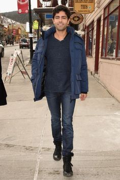 Adrian Grenier: The actor hits the streets of Park City, Utah, at Sundance in black high-tops.