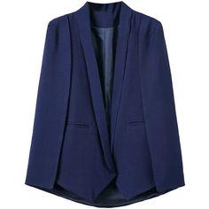 Navy Lapel Cape Blazer (440 SEK) ❤ liked on Polyvore featuring outerwear, jackets, blazers, blazer cape, blue cape coat, navy cape coat, cape coat and lapel jacket