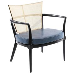 Bert England for Johnson furniture company ebonized walnut lounge chair, circa late This elegant example has a patinated brass back with newly caned insert. Patio Chair Cushions, Patio Chairs, Cool Chairs, Outdoor Chairs, Adirondack Chairs, Beach Chairs, Lounge Chairs, Side Chairs, Desk Chairs