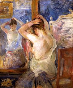 Before the Mirror Berthe Morisot - 1890 :: I love that she chose to give more detail to the back of the woman rather than the front