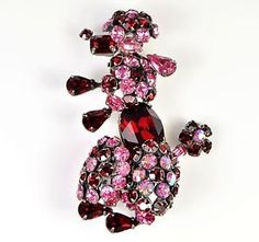 Vintage-Brooch-SCHREINER-Large-1950s-Pink-Red-Poodle-Retro-Bridal-Jewellery