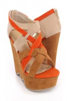 Tan Strappy Open Toe Wavy Sole Wedges Velvet