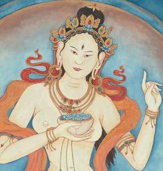 """Yeshe Tsogyal Tantric Female Master ✿✿✿ Yeshe Tsogyal is the most important historical female figure in the tradition of the Tibetan Buddhist Nyingma school. She was married to a king but became the intimate companion of Padmasambhava, who brought Buddhism to Tibet from India, at the age of 16. She is often depicted in his thangkas, kneeling at his side along with Mandarava, his Indian consort. Padmasambhava said to her """"The basis for realizing enlightenment is a human body. Male or…"""
