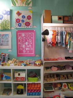 Kids corner display at Yellow Umbrella, a handmade gift shop in Bemidji, MN