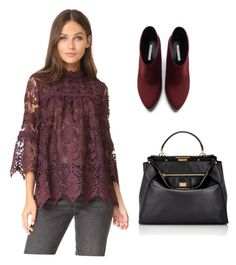 """Burgundy Lace"" by dborotea on Polyvore featuring Anna Sui, Zara and Fendi"