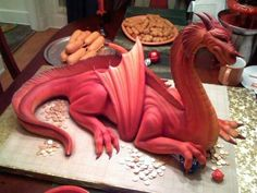 Dragon cake--If you start taking cake decorating lessons now, you'd be ready to make this for my birthday in November.  Chocolate or vanilla would be fine.  I am not picky.
