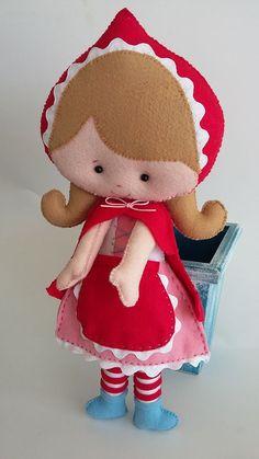 Feltro: Chapéuzinho vermelho Teddy Bear, Toys, Animals, Red Riding Hood, Fabric Dolls, Feltro, Activity Toys, Animales, Animaux