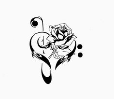 Bass Clef with sheet music Tattoo Designs | Pin Rose And Treble Clef Tattoo 2 Flower Tattoos For Girls on ...