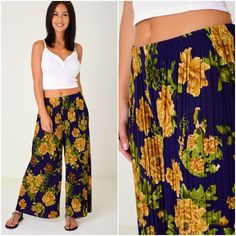 Floral Pleated Culottes Palazzo Trousers Wide Leg Elasticated Waist Pants Yoga  #Unbranded #Palazzo #Holiday Palazzo Trousers, Wide Leg, Yoga, Clothes For Women, Beach, Floral, Holiday, Swimwear, How To Wear
