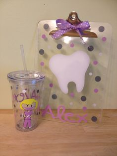 Gift set: Personalized with name acrylic tumbler and clipboard - Cute Dental hygenist or Nurse, RN on Etsy, $26.00