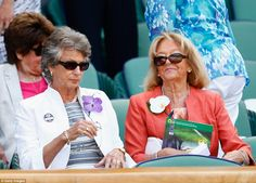 Veteran: Former tennis champion Virginia Wade (L) enjoys the final from the Royal Box on S...