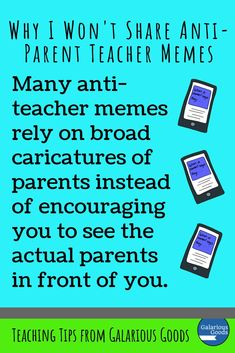 Why I Won't Share Anti-Parent Teacher Memes (and you shouldn't either) — Galarious Goods Teaching Strategies, Teaching Tips, School Refusal, Act For Kids, Report Writing, Behaviour Management, Teacher Memes, Classroom Behavior, Parenting Memes