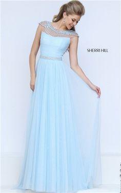 Long Sherri Hill 50187 Light Blue Low Back Stone Prom Dress 2017 Glamorous