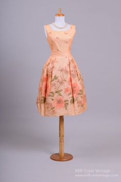 1950 Peach Chiffon Vintage Party Dress